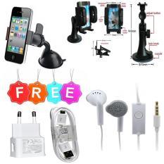 Phone Holder Mobil Untuk HP / GPS - Leher Robot - Hitam FREE Carger Samsung S4/S3/NOTE 2 + Handsfree Samsung