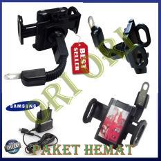 Phone Holder Motor Untuk HP / GPS Phone Holder Jepit untuk Spion motor/ Phone Holder for Motorcycles - Hitam  + Charger Samsung Young  paket hemat