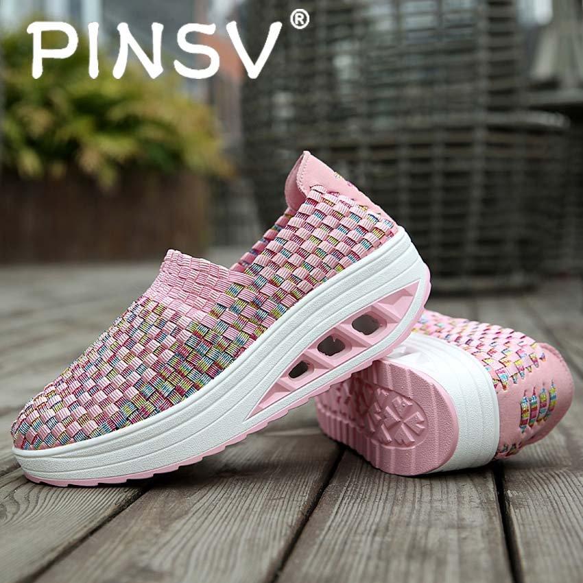 Model Pinsv Baru Tinggi Meningkatkan Sepatu Kasual Wanita Ayunan Bernapas Wedges Sepatu Pink Terbaru