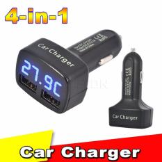 Pitaldo Charger Mobil 4in1 Output 3.1A dengan Display LED Voltase Ampere Temperatur