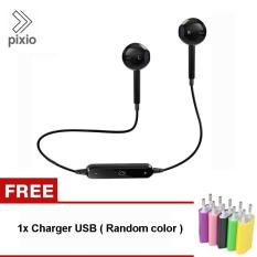 Spesifikasi Pixio S6 Bluetooth Headset Wireless Earphone Headphone With Microphone For Samsung Galaxy Iphone Htc Sony Xiaomi Mobile Phone Free Charger Usb Random Color