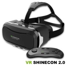 Bermain Asli VR Shinecon V2 2nd Generasi Virtual Reality Headset3D Kacamata Kotak Vr Vrbox dengan Gamepad Bluetooth (Hitam)