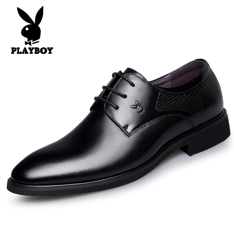 Beli Playboy Inggris Kulit Hitam Menunjuk Kasual Sepatu Sepatu Kulit Pria Hitam Cicilan