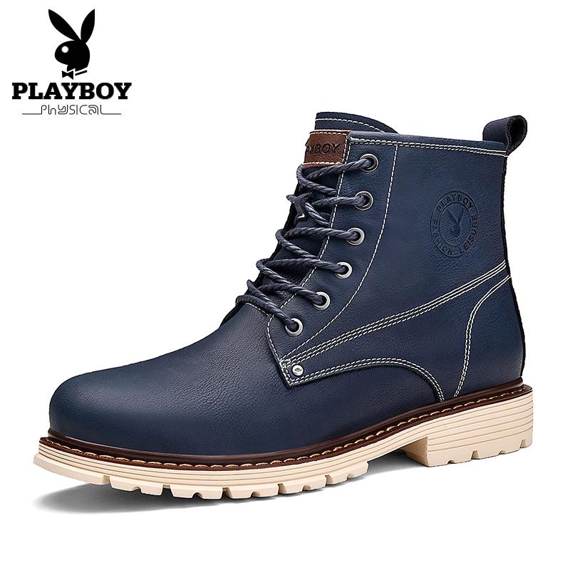 PLAYBOY Laki-laki Pergelangan Kaki Tinggi Dr. Martens Sepatu Boot Pria (Model Empat Musim Biru Tua)