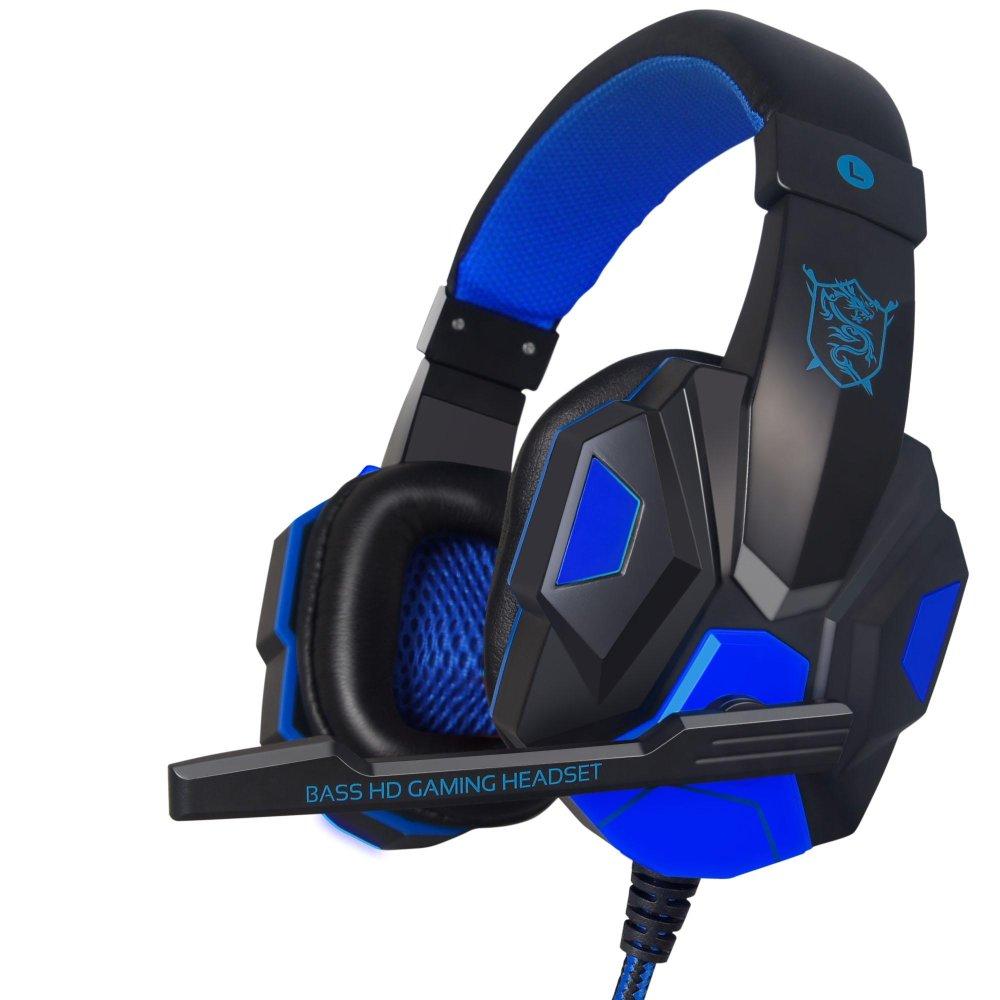 PLEXTONE PC780 Over-Ear Headset Game Telepon Kepala Stereo Headphone Bass dengan MIC USB untuk Pemain Game PC Biru-Intl