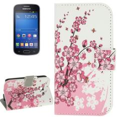 Plum Blossom Pattern Horizontal Flip Magnetic Buckle Leather Case with Card Slots & Wallet & Holder for Samsung Galaxy Trend Lite / S7390 - intl