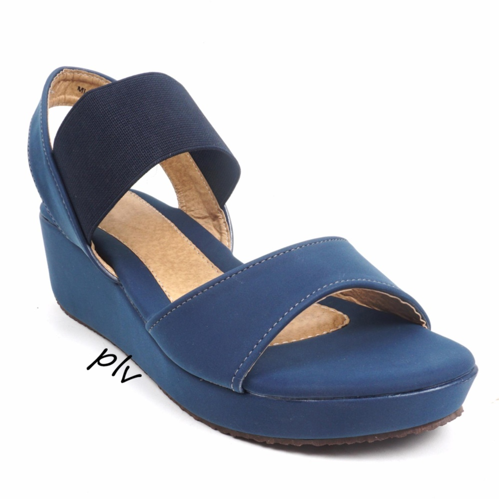 Beli Pluvia Megan Wedge Sandals Mg01 Navy Yang Bagus