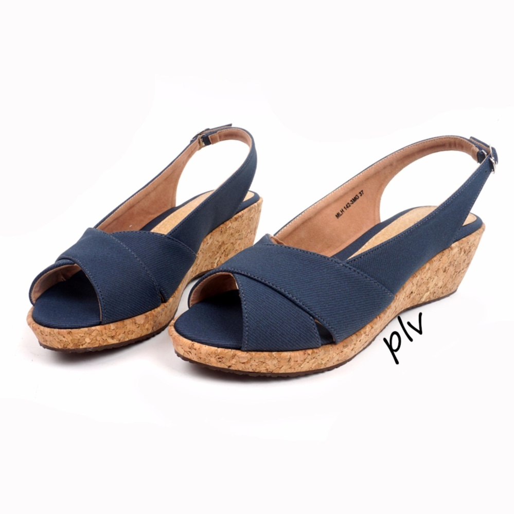 Toko Pluvia Nasha Wedge Sandals Mgh03 Navy Di Indonesia