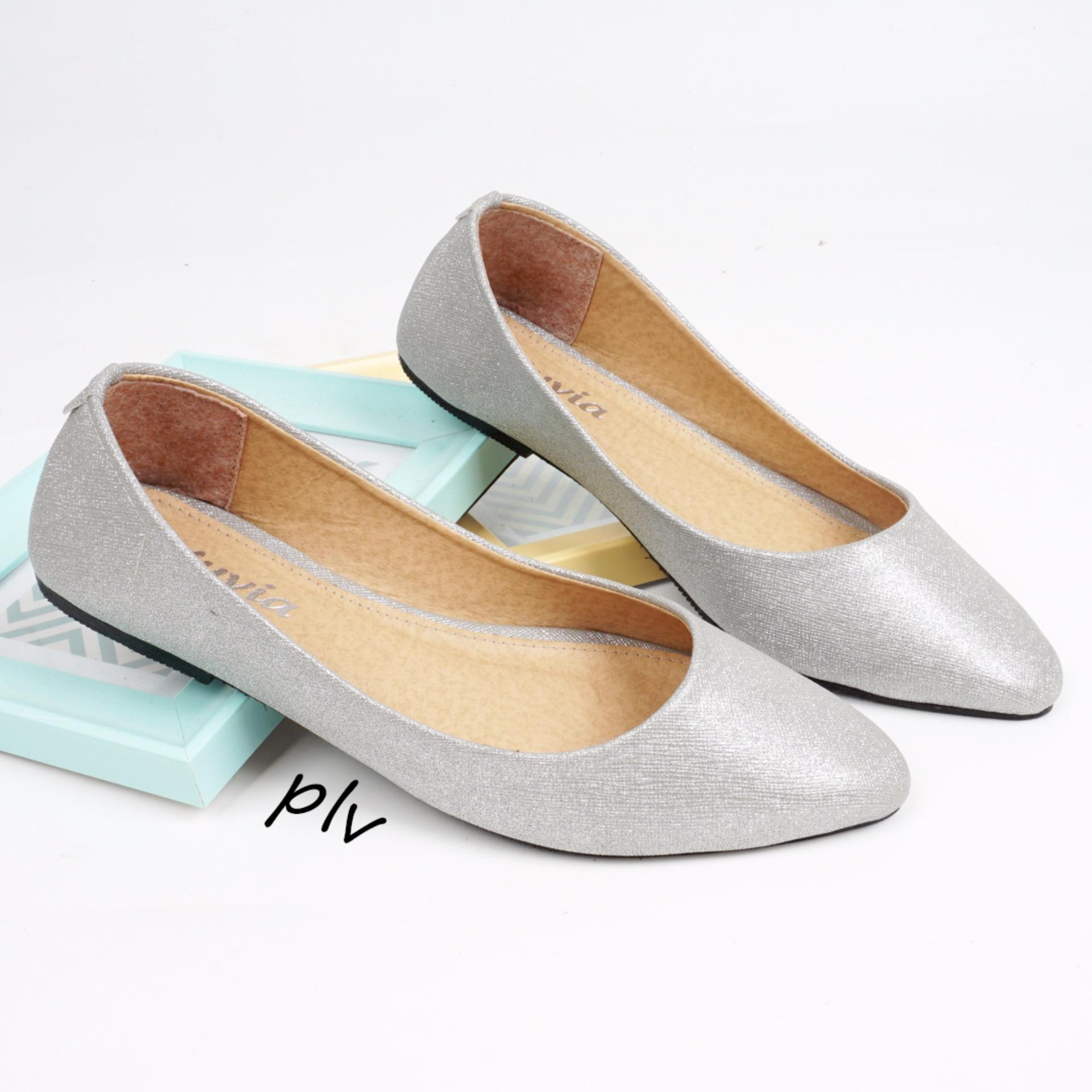 Review Terbaik Pluvia Pointed Toe Flat Shoes Wanita Db169 Abu
