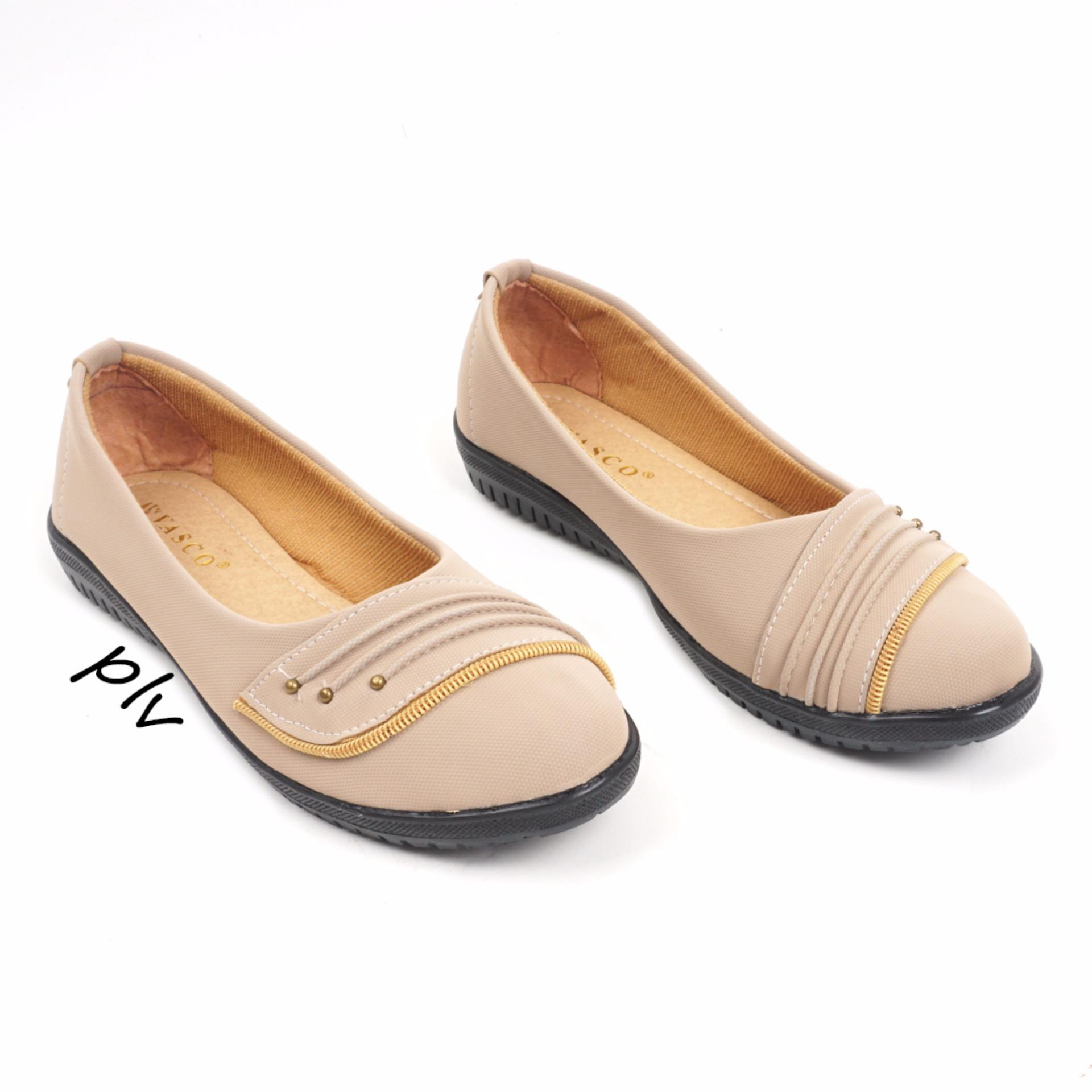 Pluvia Sepatu Flat Shoes Loafers Tm02 Cream Asli