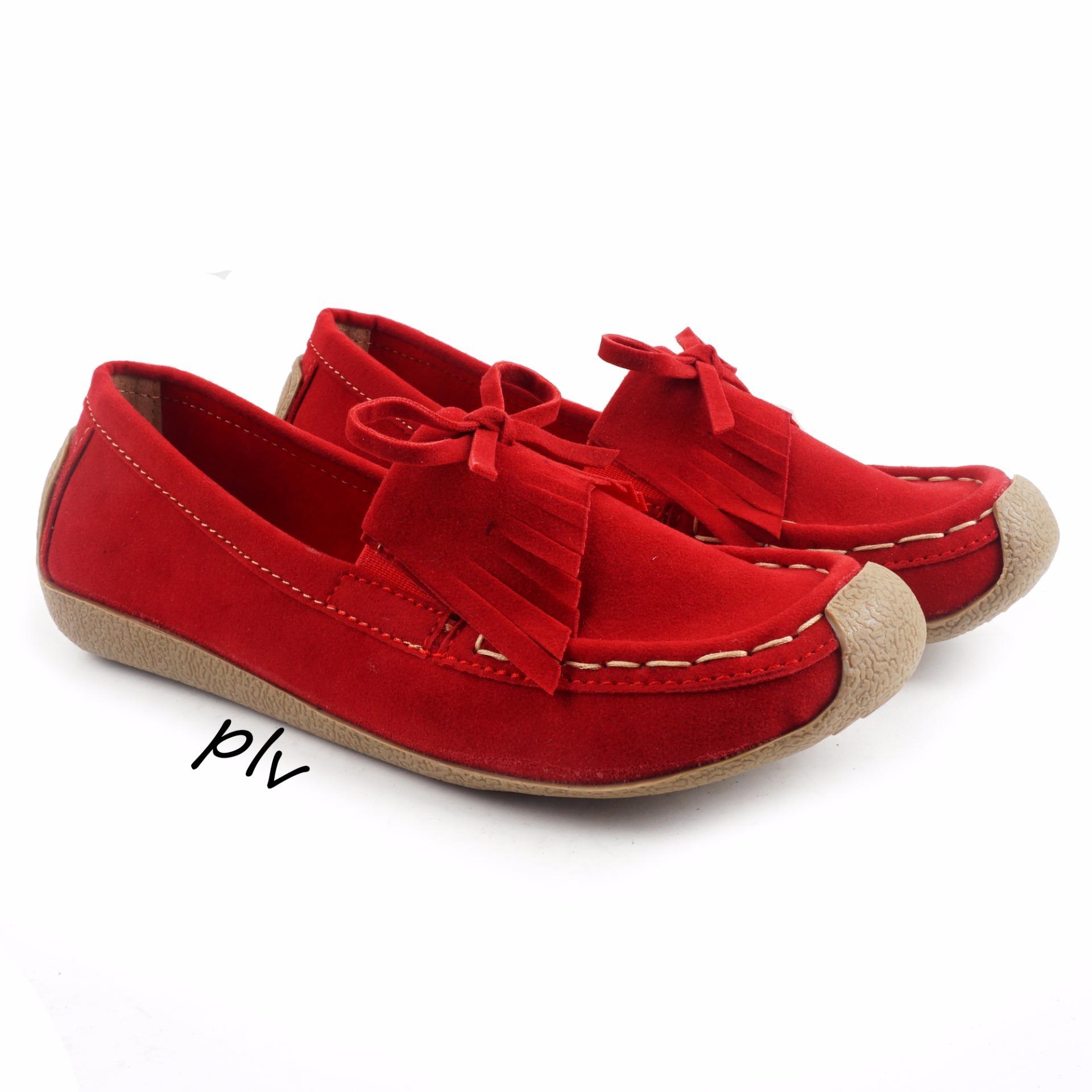 Pluvia Sepatu Flat Shoes Loafers Wanita Us103 Merah Original