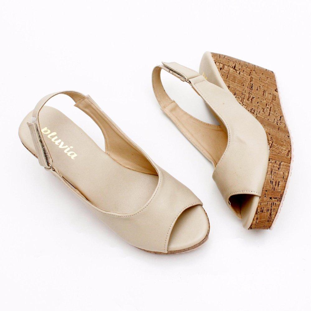 Pluvia - Sepatu Sandal Wedges Wanita Slingback MS10 - Cream
