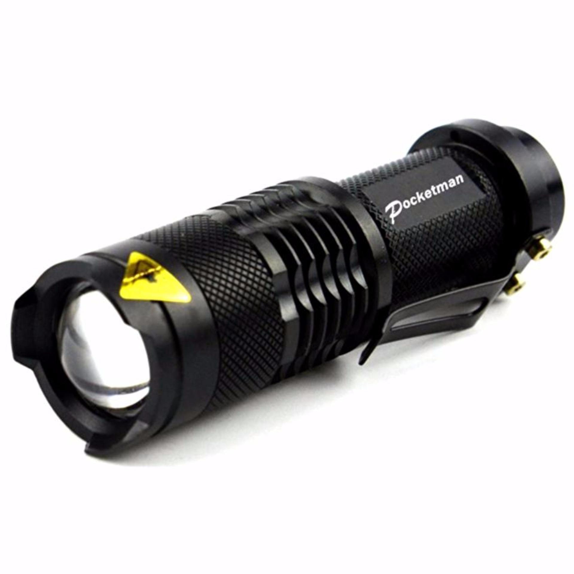 Pocketman Senter LED 2000 Lumens Waterproof Anti Air Emergency Darurat Flashlight 3 Modes Camping Hiking Outdoor Adventure Survival Police Mini with Hanging Cilp Laser Tahan Air Mudah Dibawa Kecil Small Size Penerangan Pencahayaan Light Cahaya - Hitam