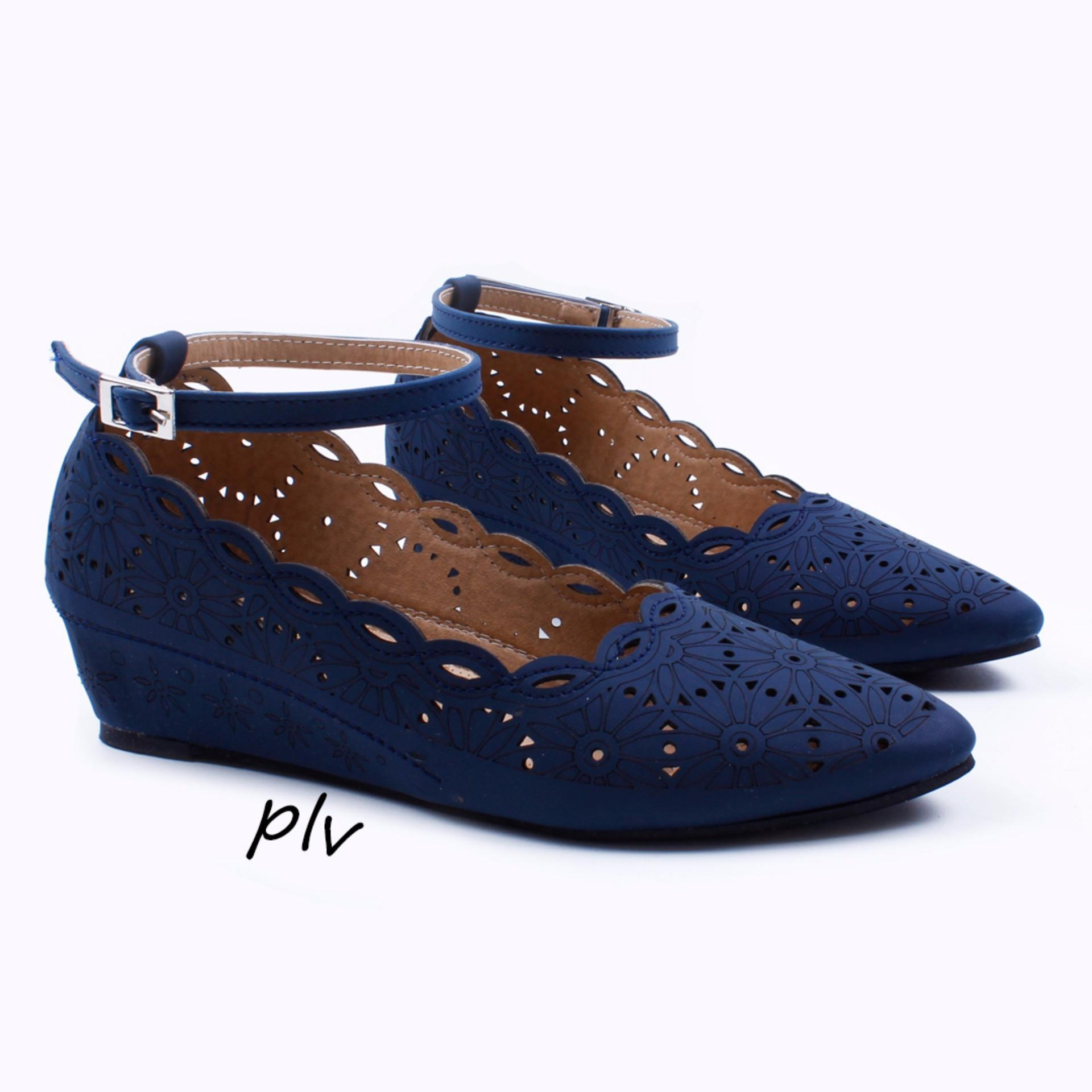Penawaran Istimewa Pointed Toe Ankle Strap Hidden Heel Wedges Bs27 Navy Terbaru