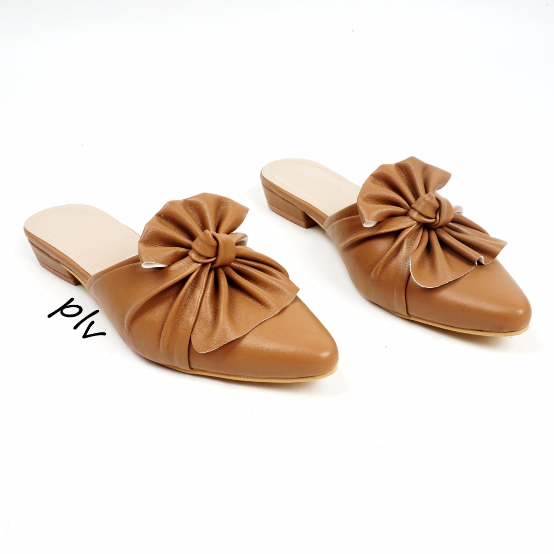 Review Pointed Toe Bow Mule Sandals Kkb01 Camel Pluvia Di Jawa Barat