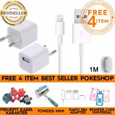 pokeshop - Data USB Lightning Charger Cable for Apple iPhone (1m) Kabel Dan Charger an  Suport  Iphone 5,5s,6,6+,7,7+,7G Dengan Charger Free Tongsis Mini Lipat Kabel Holder U + Nossy Sim Card Adapter + Penjepit Kabel Karakter + Bumper Case Universal