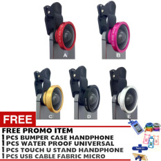 Pokeshop - Universal Clip Lens 0.4x Super Wide Selfie Camera Lens - universal - Gratis USB micro cable + Touch u stand Hp + Waterproof universal smartphone + HandsFree mega bass