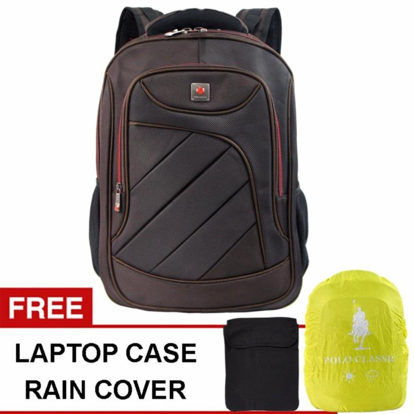 Polo Classic 18076-21 Backpack + Rain Cover - Coffee combinasi terbaru