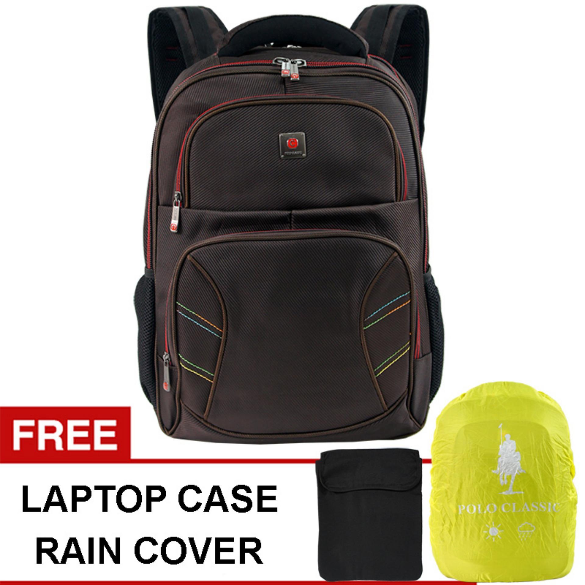 Polo Classic 21 Backpack Rain Cover Coffee Tas Ransel Tas