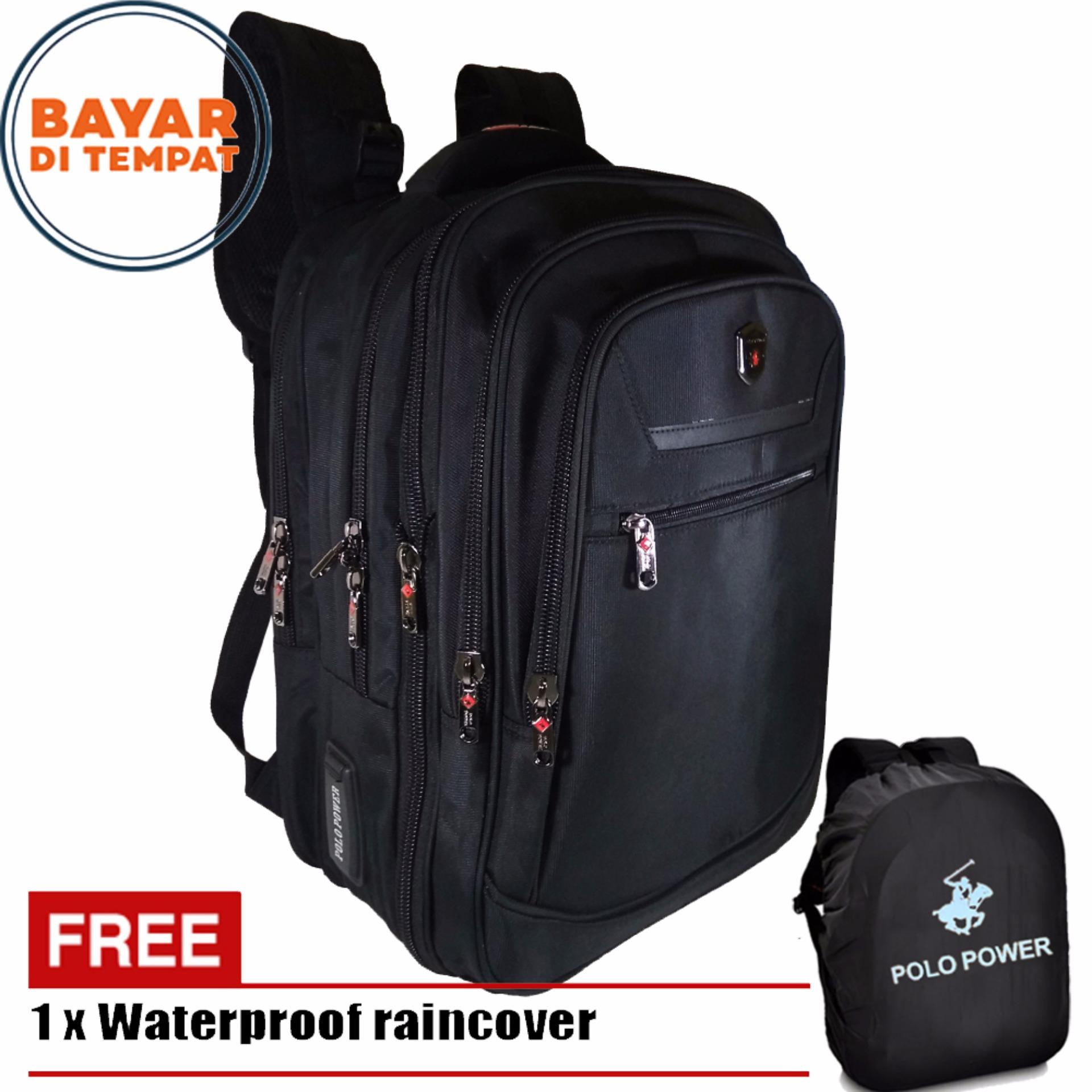 Toko Jual Polo Power Tas Ransel Pria 18 Inchi Expandable 185003 Highest Spec Polo Backpack Import Original Black Raincover
