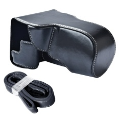 Portable Kamera Pelindung Case PU Kulit Pelindung Casing Cover With Tali Bahu Adjustable For Canon EOS M6 Hitam