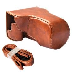 Portable Kamera Pelindung Case PU Kulit Pelindung Casing Cover dengan Bisa Disesuaikan Tali Bahu untuk Canon EOS M6 Brown-Intl