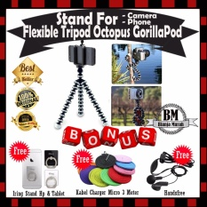 Portable Flexible Tripod Medium Portable GorillaPod Octopus Stand For Action Camera - Gratis Iring Stand HP + Kabel Charger Micro 3 Meter & Earphone Angel