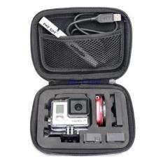 Portable storage tas jinjing untuk Camera GoPro - Xiaomi - Action Camera  dan asesoris nya - Shock Proof - 16x12x6.5 cm - Black
