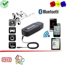 Portable USB 3.5mm Version 2.1 AUX Wireless Bluetooth Music Audio Receiver Adapter Car AUX Home Audio System + Free AUX Cable - Hitam + Ikat Rambut Klik to Buy 1 pcs