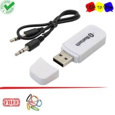 Portable USB 3.5mm Version 2.1 AUX Wireless Bluetooth Music Audio Receiver Adapter Car AUX Home Audio System + Free AUX Cable - White + Ikat Rambut Klik to Buy 1 pcs