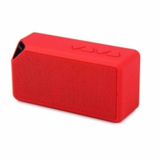 Portable Nirkabel Bluetooth Speaker Outdoor Kecil Kotak Audio Radio Kartu Cube Subwoofer X3-Merah-Intl