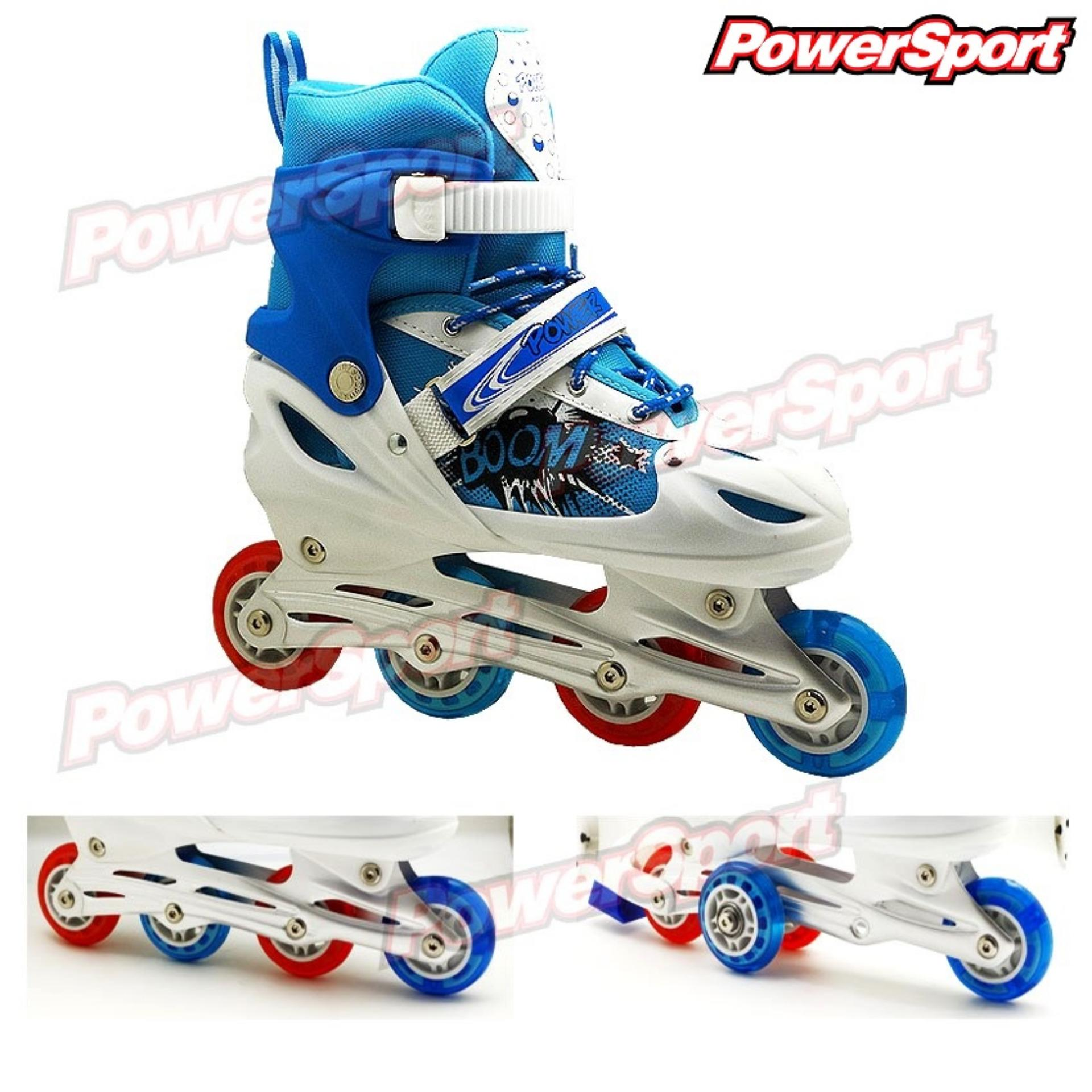 Review Toko Powersport Boom Inline Skate Sepatu Roda Adjustable Wheel Biru L 38 42 Online