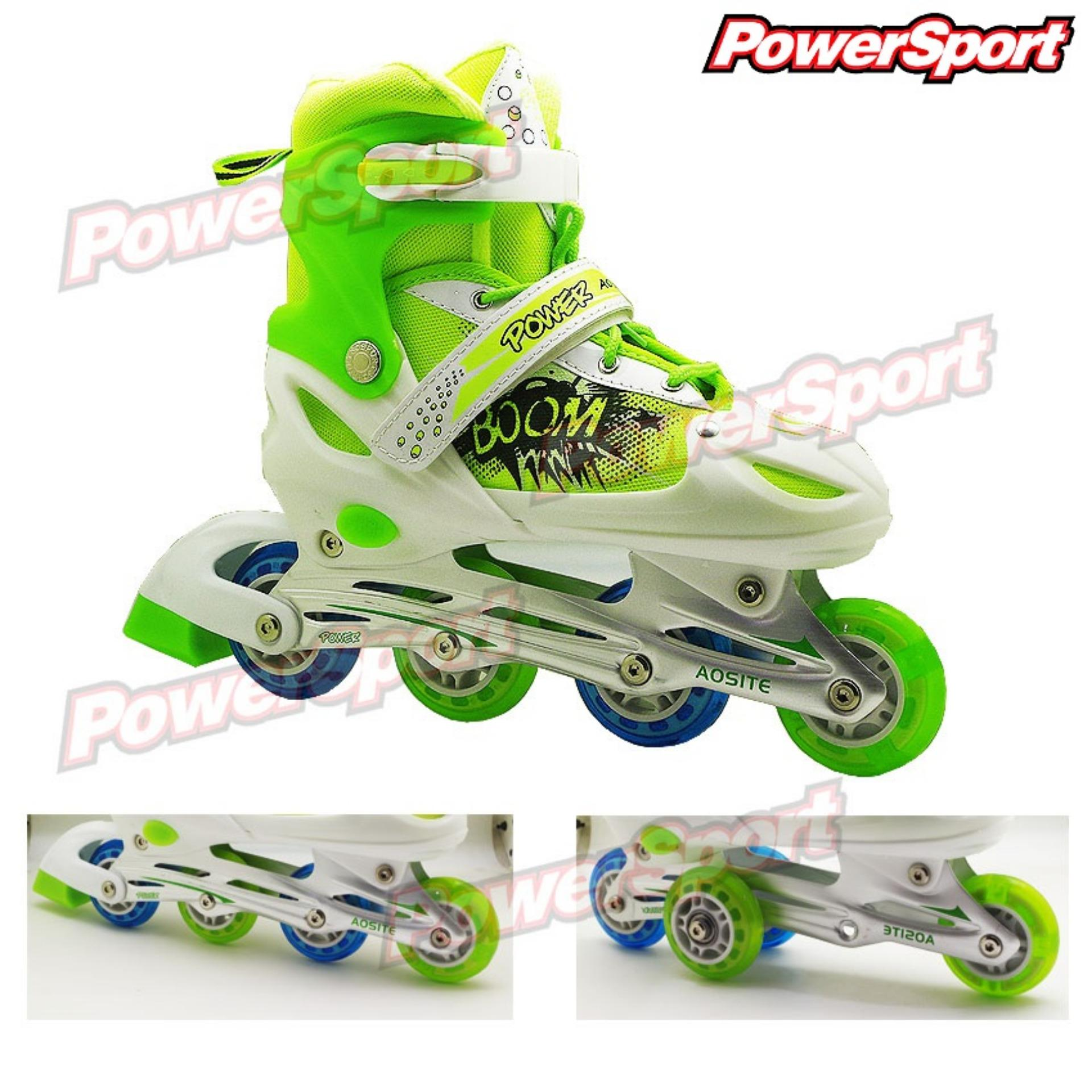 Harga Powersport Boom Inline Skate Sepatu Roda Light Up Adjustable Wheel L 38 42 Asli Power Sport