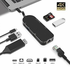 Premium 7-In-1 Usb-c HUB-TYPE C Power Delivery + 4 K HDMI + Pembaca Kartu + Ethernet Adapter Gigabit + 2 USB 3.0 Port (5 Gbps) -luckydiy Multi-port Adapter untuk MacBook (Pro)/Chromebook/matebook dan Lainnya (hitam) -Intl