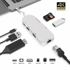 Premium 7-In-1 Usb-c HUB-TYPE C Power Delivery + 4 K HDMI + Pembaca Kartu + Ethernet Adapter Gigabit + 2 USB 3.0 Port (5 Gbps) -luckydiy Multi-port Adapter untuk MacBook (Pro)/Chromebook/matebook dan Lainnya-Intl