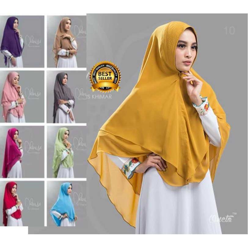Premium Jilbab (Hijab) Kerudung Instan Khimar Syar'i Two Layers Khimar Dhanisa Toko Berkah Online