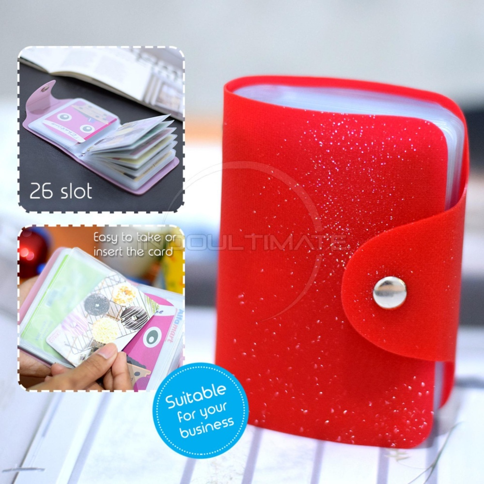 PREMIUM Korean Card Wallet 26 Slot /Dompet Kartu ATM/credit card OR 92-01 BLINK - Red