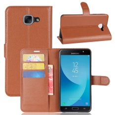 Premium Leather Flip Cover Wallet Casing Ponsel untuk Samsung Galaxy J7 Max Sm-g615f-Intl