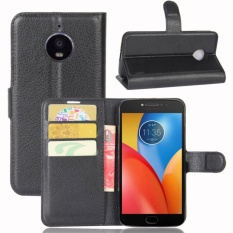 Premium Leather Flip Cover Wallet Phone Case untuk Motorola MOTO E4 Plus-Intl