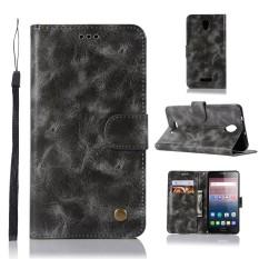 Premium Minyak Wax PU Kulit Sarung Folio Lipat Dompet Case Ramping Penyangga Sarung & Tali Pergelangan Tangan untuk Alcatel Satu sentuh Perhatian 4 +/Plus 5.5 Inches Smartphone-Internasional