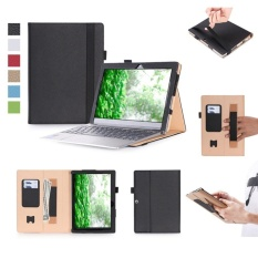 Premium PU Leather Case Stand Cover UNTUK LENOVO IdeaPad MIIX 320   10.1 WXGA Dilepas 2-In-1 convertible Laptop Tablet PC (Hitam)