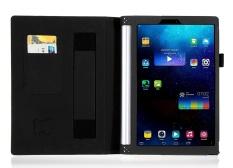Premium PU Leather Case Stand Cover untuk Lenovo YOGA Tablet 2 1050F dengan Velcro Tali Pengikat dan Slot Kartu (hitam) -Intl