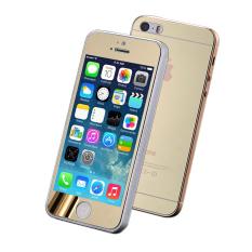 Jual Premium Tempered Glass Film Dan Back Mirror Sticker Screen Protector Untuk Iphone 5 5 S Emas Oem Online