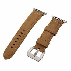Situs Review Premium Kulit Asli Vintage Perhiasan Band Tali Pengikat Dengan Jepitan Logam Gesper Untuk Apple Watch Seri 1 2 42 Mm Semua Model