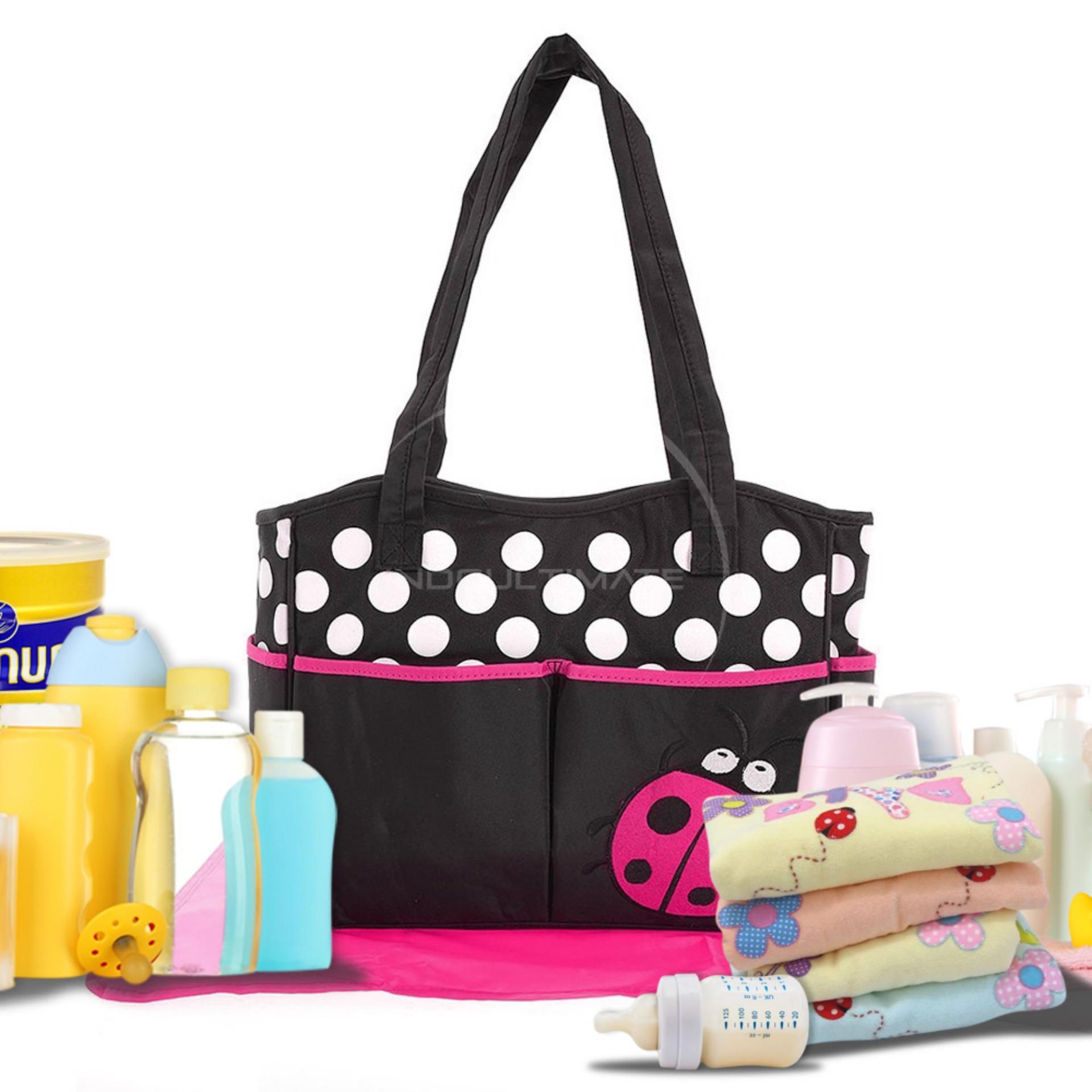 Harga Premium Waterproof Tas Bayi Besar 4 Saku Extra Free Alas Tas Baby Tas Diapers Susu Perlengkapan Bayi Baby Diaper Bag By 02 Lady Bug Pink Ultimate Original