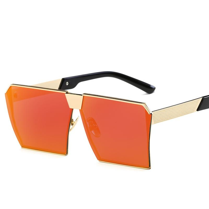 Katalog Pria Wanita Sunglasses Square Sunglasses Cerah Warna Retro Bingkai Besar Emas Bingkai Red Mercury Terbaru