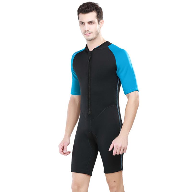 Beli Pria 2Mm Neoprene Snorkeling Scuba Diving Suit Swimwear Lengan Pendek Wetsuit Surf Rashguard Suit Swimsuit Air Biru