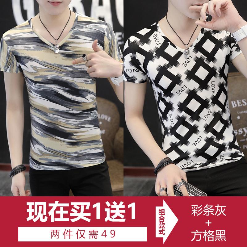 Diskon Besarpria Busana Pria Ini Lengan Pendek T Shirt V Neck T Shirt Slim Bottoming Kemeja Warna Bar Abu Abu Kotak Kotak Hitam