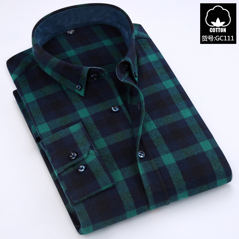 Spesifikasi Pria Katun Kasual Pria Lengan Panjang Kemeja Baru Kotak Kotak Kemeja Jaringan Hijau Baju Atasan Kaos Pria Kemeja Pria Terbaru