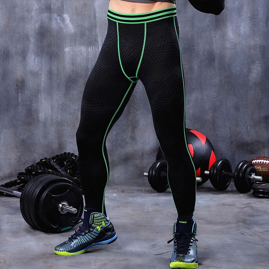 Review Toko Pria Kompresi Legging Baselayer Cool Kering Olahraga Menjalankan Tights Fitness Gym Pants Celana Green Line Intl Online